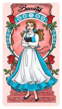 Belle - Art Nouveau by Paola-Tosca on DeviantArt Fera Disney, Arte Disney, Disney Fan Art, Disney Girls, Disney Love, Disney Magic, Tinkerbell Disney, Disney Couples, Disney Princess Belle