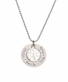Look what I found on #zulily! Stainless Steel Family Tree Personalized Pendant Necklace #zulilyfinds