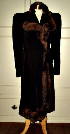 A Fashion Statement ~ A Fur Trimmed 1930's Black Velvet Coat