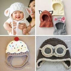 6 Tutoriais de Gorros de bebé em croché - http://coisasdamaria.com/6-tutoriais-de-gorros-de-bebe-em-croche/