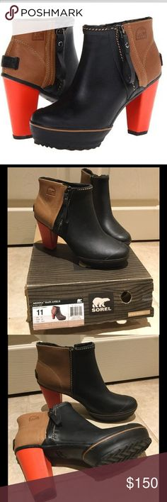 "⚡️FLASH SALE⚡️NIB Sorel Medina Rain Ankle Boot Waterproof, amazing ankle boots by Sorel.  4""heel, 1"" platform.  7"" boot shaft.  Side zip closure.  Vulcanized rubber and full-grain leather upper/Lycra spandex lining/rubber sole.  Sold Out online!  Make an offer! Sorel Shoes Winter & Rain Boots"