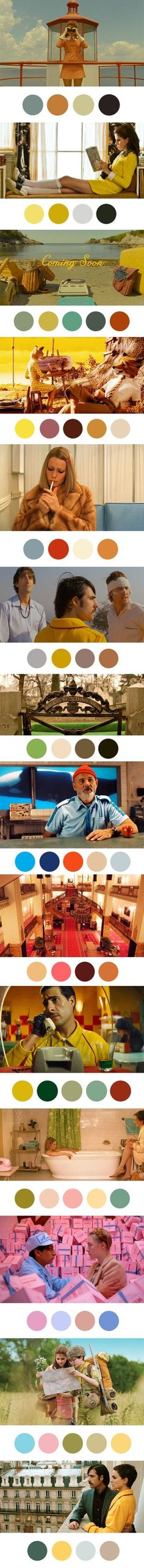 Wes Anderson - Paleta de colores utilizadas en sus películas. • Me gusta mucho la combinación de colores y tonos que utiliza; genera un ambiente muy cálido en las diferentes escenas.