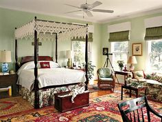 four-poster bed with lace canopy in a pale green bedroom Pale Green Bedrooms, Green Bedroom Walls, Green Walls, Garden Bedroom, Home Bedroom, Southern Living Rooms, Lace Bedding, Traditional Bedroom, Beautiful Bedrooms