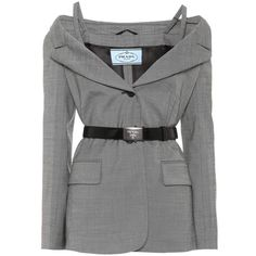 Prada Wool and Silk Blazer found on Polyvore featuring outerwear, jackets, blazers, coats, dresses, grey, woolen jacket, gray wool blazer, prada jacket and gray blazer