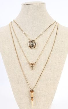 Stunning charms on this layered necklace <3 | MakeMeChic.com