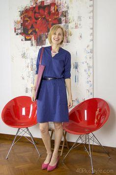Blue striped dress with fuchsia pumps | 40plusstyle.com
