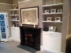 cupboards built into chimney breast alcoves (bespoke/painted). Alcove Storage, Alcove Shelving, Alcove Cupboards, Built In Cupboards, Built In Shelves, Storage Ideas, Floating Shelves, Living Room Cupboards, Hall Cupboard