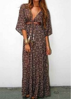 Half Sleeve Printed High Waist brown print Boho tie waist maxi Dress at Rotita.com | $25.01