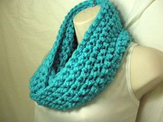 Turquoise Cowl Infinity Circle Scarf Neckwarmer by madebymandy35, $25.00