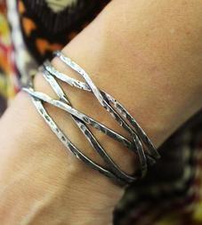Silver & Pewter Intertwining Cuff Bracelet