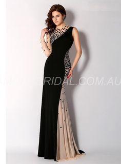 amodabridal.com.au SUPPLIES Jewel Unique Court Train Jersey Evening Dress Canberra Long Formal Dresses