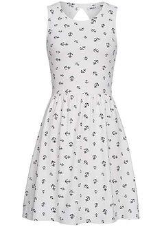 ONLY Damen Mini Kleid hinten offen Anker Muster cloud dancer weiss Only Kleider | 77onlineshop im Online Shop preiswert kaufen