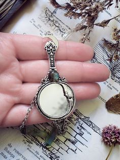 Mirror Pendant Moon Mirror Aura Quartz by WickedandLovelyStore
