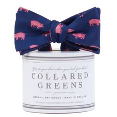 The Pig Bow Tie in Navy/Pink by Collared Greens