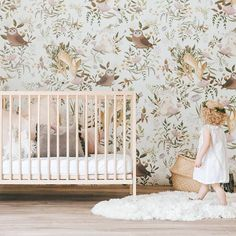 Discover the adorable floral design of the Oh Deer Wallpaper Mural from Project Nursery. This forest animal nursery wallpaper has friendly woodland critters. Deer Wallpaper, Rabbit Wallpaper, Nursery Wallpaper, Wallpaper Designs, Woodlands Wallpaper, Wallpaper Murals, Animal Wallpaper, Animal Nursery, Girl Nursery