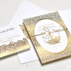 Gold Foil Wedding Invitations | Brides