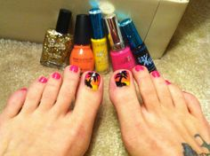Summer time toes BY: Me... Yellow-orange-pink-gold glitter-black