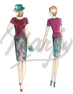 Fabric required mt 0 80 wide 1 40 Available in sizes 42 46 50 Top with V-shaped tucks and sleeves collar and peplum trimmed with edging of contrasting colour Suggested fabric crêpe or wool jersey