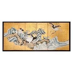 Japanese Screen:Cranes on a Rocky Coastal Landscape