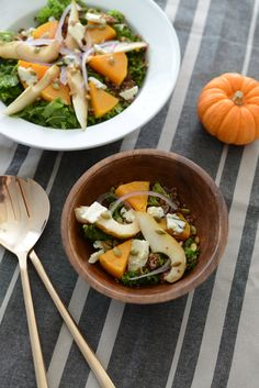kale salad with quinoa, butternut squash and blue cheese