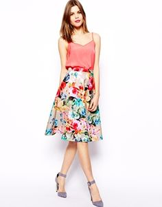 Florals for spring? Groundbreaking.  ASOS Scuba Midi Skirt In Neon Floral