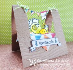Could this be any cuter? Simon Says Stamp Blog!: Lawn Fawn Lemonade Stand! _ Lawn Fawn - Make Lemonade, Sophie's Sentiments, Bannerific, Home Sweet Home, Blue Skies, Say Cheese Too