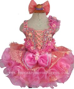 Infant//toddler//baby  crystal//Stones Pageant Dress  red 284 with hairbow