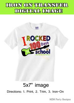 100th Day of School Rock Star Iron on Transfer by M2MPartyDesigns