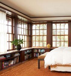Glorious windows, & great idea for book shelves below