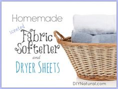 Homemade Fabric Softener and Dryer Sheets - With Natural Scents & anti static; Homemade fabric softener and dryer sheets have no strong chemical perfumes like the store brands. They have a light, natural scent that is MUCH more inviting. Homemade Cleaning Products, Cleaning Recipes, Natural Cleaning Products, Cleaning Hacks, Diy Products, Household Products, Natural Products, Weekly Cleaning, Cleaning Checklist