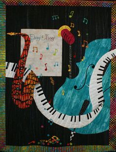 Blues, All That Jazz, Kona Cotton, Jazz Music, Saxophone, Machine Quilting, Applique, Old Things, Handmade Items