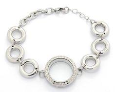 Silver Medium Locket Chunky Bracelet w/ Crystals - P2 Dream Lockets