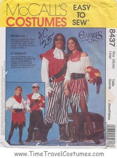McCall's 8437 Easy Pirate Costume Costumes Family Men's Children's Kids Juniors Women's Misses' sewing pattern @TimeTravelStyle #timetravelcostumes