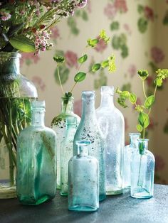 Old green and blue vintage glas bottles used as vases
