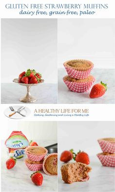 Gluten Free Strawberry Muffins Recipe are grain free, dairy free, paleo, vegan and moist and delicious.  - A Healthy Life For Me