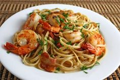 SHRIMP SCAMPI: This recipe is from Restaurant Impossible. It looked so good and fresh (and not overly laden with butter, at least the way I'll make it, probably use half of what it calls for). Basically onions, garlic, tomatoes, parsley, lemon, white wine, shrimp and butter, tossed with pasta. (NOTE: stock photo used).