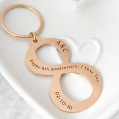 8th Anniversary Gift For Him Bronze Keychain Her Jewelry Keyring