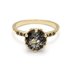 Hazeline Solitaire Ring with Blackened Rutilated Quartz. Image Courtesy of Anna Sheffield