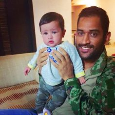Captain MS #Dhoni with his cute daughter #Ziva.