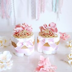 Pink & Gold Princess MINI Diaper Cake / Baby Shower