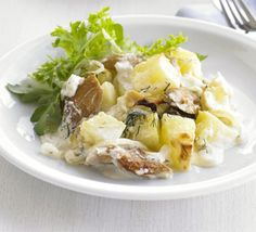This warming, thrifty potato and mackerel family supper takes just ten minutes to prepare. Try it with hot-smoked trout too Braised Cabbage, Braised Chicken, Shellfish Recipes, Seafood Recipes, Bbc Good Food Recipes, Cooking Recipes, Budget Recipes, Smoked Trout Salad, Smoked Fish