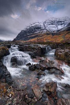 Glen Coe. Aonach Dubh. River Coe. highland Scotland.