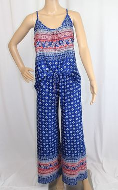 NWT In Bloom by Jonquil Blue&Coral Pink Knit Pajama Pants/Top Set Size:M / #JL72 #InBloombyJonquil #PajamaSets #Everyday