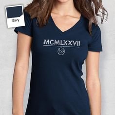40th Birthday 1979 Roman Numerals Womens V Neck Idea Present Or Gift For The Lucky 40 Year Old