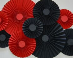 Red and Black Rosettes Paper Fans PinwheelsParty Spanish Party, Black Party Decorations, Dessert Table Backdrop, Creation Deco, Paper Fans, Black Paper, For Your Party, Pinwheels, Color Themes