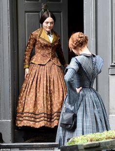 Finn Atkins as Charlotte Bronte and Charlie Murphy as her sister Anne, filming To Walk Invisible for the BBC, May 2016