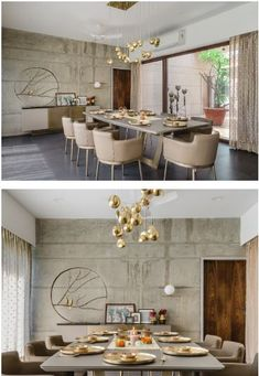 A Contemporary Villa On Traditional Ideals Formal Living Rooms, Living Room Decor, My Furniture, Furniture Design, Dining Area, Dining Rooms, Dining Table, Concrete Interiors, Pooja Rooms