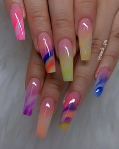 Chic Ombre Coffin Nails Designs In Summer - Nail Art Connect Summer Acrylic Nails, Best Acrylic Nails, Acrylic Nail Designs, Summer Nails, Nail Art Designs, Beautiful Nail Designs, Beautiful Nail Art, Gorgeous Nails, Pretty Nails
