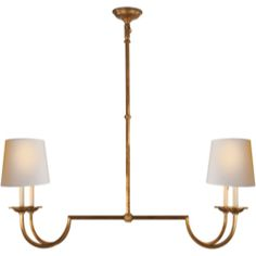 Visual Comfort E.F. Chapman's Chart House Flemish Large Linear Pendant in Gilded Iron with Natural Paper Shades CHC1498GI-NP