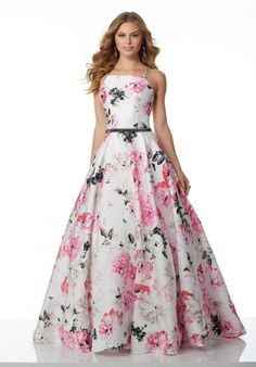 Check out the deal on Morilee 42085 Sweet Floral Satin Prom Dress at French Novelty Modest Dresses, Pretty Dresses, Strapless Dress Formal, Formal Dresses, Western Dresses, Indian Dresses, Wedding Dress Patterns, Mode Hijab, Beautiful Gowns